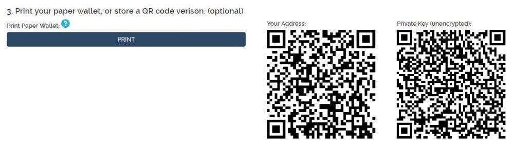 Ethereum Paper Wallet: QR Code und Paper Wallet ausdrucken
